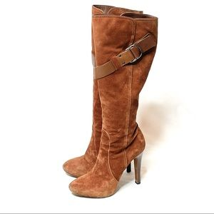 Authentic Givenchy Brown Suede Knee High Boots 38